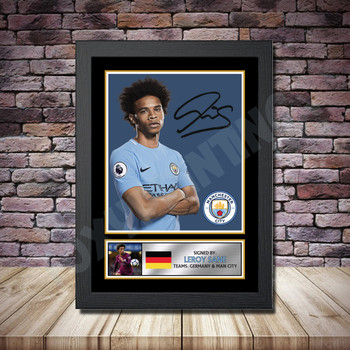 Personalised Signed Football Autograph print - Leroy Sane -A4 A3 A2 A1 - Framed or Print Only