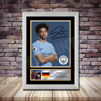 Personalised Signed Football Autograph print - Leroy Sane Framed or Print Only