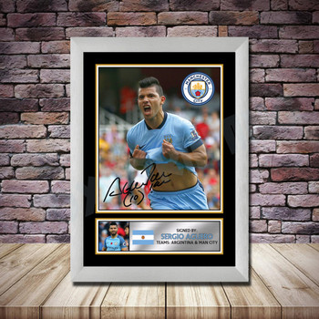 Personalised Signed Football Autograph print - Sergio Aguero 2 -A4 A3 A2 A1 - Framed or Print Only