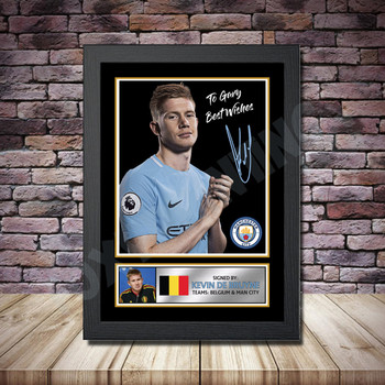 Personalised Signed Football Autograph print - Kevin De Bruyne -A4 A3 A2 A1 - Framed or Print Only