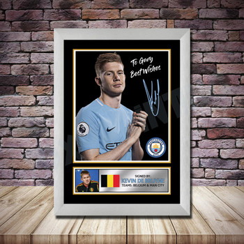 Personalised Signed Football Autograph print - Kevin De Bruyne Framed or Print Only