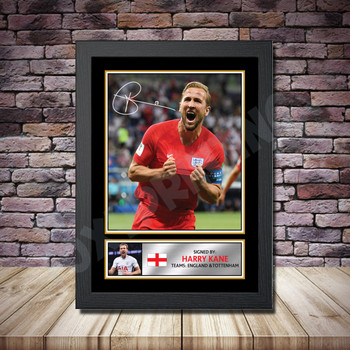 Personalised Signed Football Autograph print - Harry Kane -A4 A3 A2 A1 - Framed or Print Only