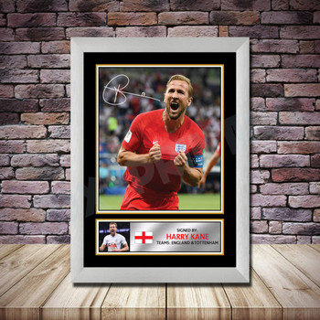Personalised Signed Football Autograph print - Harry Kane Framed or Print Only
