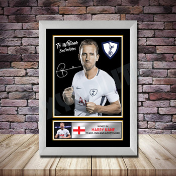Personalised Signed Football Autograph print - Harry Kane Personalised -A4 A3 A2 A1 - Framed or Print Only
