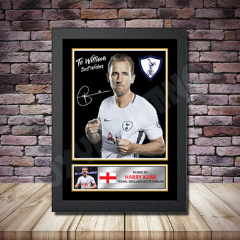 Personalised Signed Football Autograph print - Harry Kane Personalised Framed or Print Only