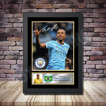 Personalised Signed Football Autograph print - Fernandinho -A4 A3 A2 A1 - Framed or Print Only