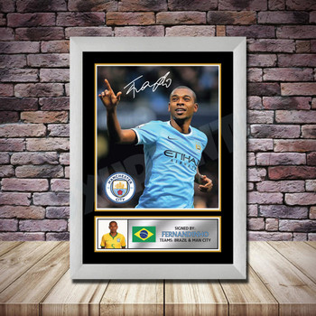 Personalised Signed Football Autograph print - Fernandinho Framed or Print Only