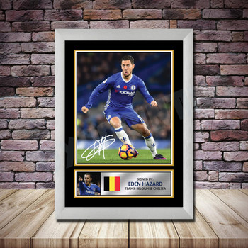 Personalised Signed Football Autograph print - Eden Hazard -A4 A3 A2 A1 - Framed or Print Only