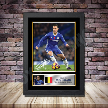 Personalised Signed Football Autograph print - Eden Hazard Framed or Print Only