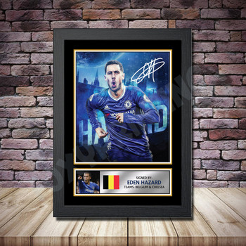 Personalised Signed Football Autograph print - Eden Hazard 2 -A4 A3 A2 A1 - Framed or Print Only