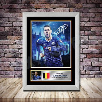 Personalised Signed Football Autograph print - Eden Hazard 2 Framed or Print Only