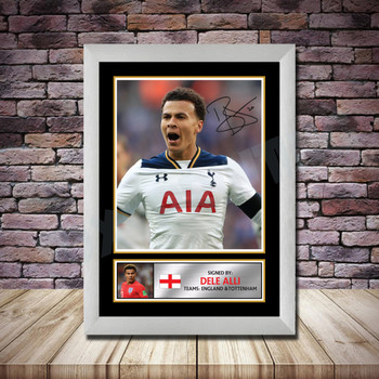Personalised Signed Football Autograph print - Dele Alli -A4 A3 A2 A1 - Framed or Print Only