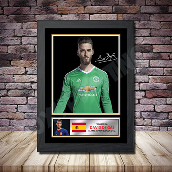 Personalised Signed Football Autograph print - David De Gea 2 -A4 A3 A2 A1 - Framed or Print Only