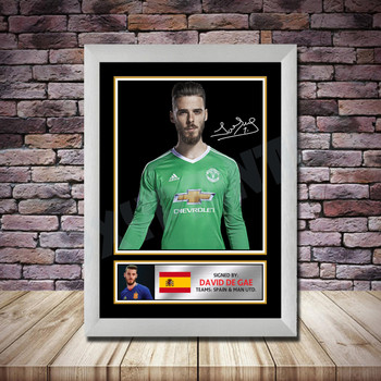 Personalised Signed Football Autograph print - David De Gea 2 Framed or Print Only