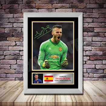 Personalised Signed Football Autograph print - David De Gea -A4 A3 A2 A1 - Framed or Print Only