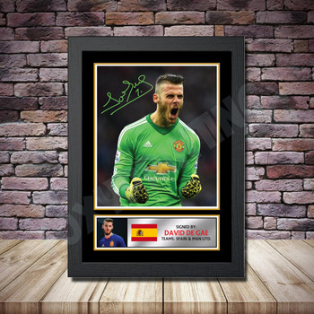 Personalised Signed Football Autograph print - David De Gea Framed or Print Only