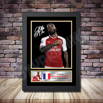 Personalised Signed Football Autograph print - Alexander Lacazette 2 -A4 A3 A2 A1 - Framed or Print Only
