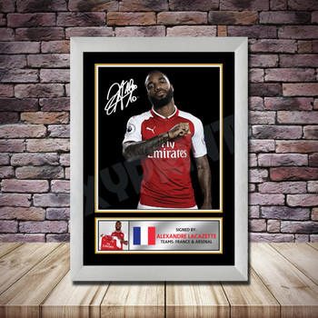 Personalised Signed Football Autograph print - Alexander Lacazette 2 Framed or Print Only