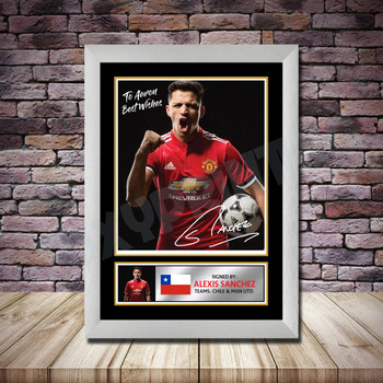 Personalised Signed Football Autograph print - Alexis Sanchez -A4 A3 A2 A1 - Framed or Print Only