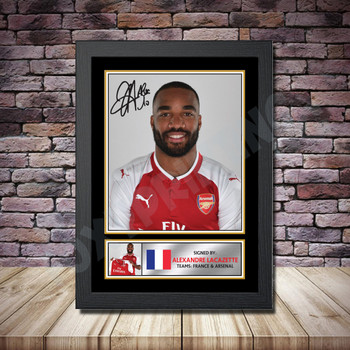 Personalised Signed Football Autograph print - Alexander Lacazette -A4 A3 A2 A1 - Framed or Print Only