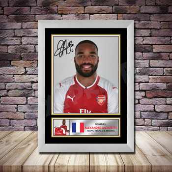 Personalised Signed Football Autograph print - Alexander Lacazette Framed or Print Only