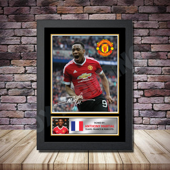 Personalised Signed Football Autograph print - Anthony Martial -A4 A3 A2 A1 - Framed or Print Only