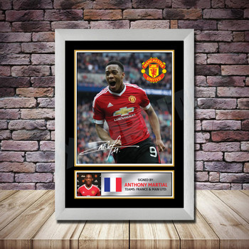 Personalised Signed Football Autograph print - Anthony Martial Framed or Print Only