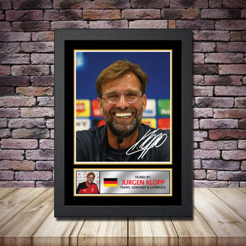 Personalised Signed Football Autograph print - Jurgen Klopp - A4 A3 A2 A1 - Framed or Print Only