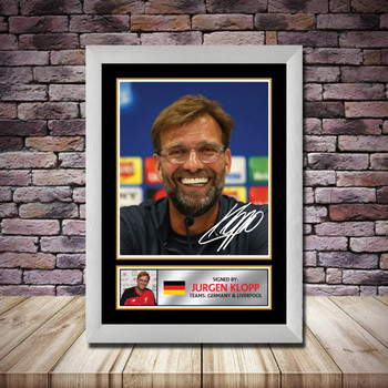 Personalised Signed Football Autograph print - Jurgen Klopp Framed or Print Only