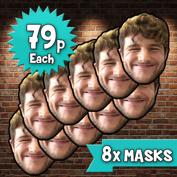 8 x Personalised Create Your Own DIY Photo Face Masks - Custom Party Masks