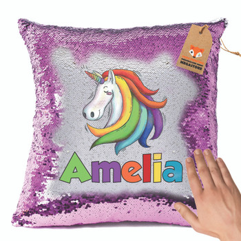 UNICORN Magic Reveal Cushion Cover PERSONALISED Sequin Christmas
