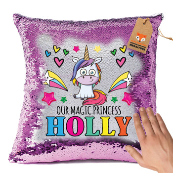 Hot Pink and Unicorn 108 - White Design Magic Reveal Cushion Cover PERSONALISED Sequin Christmas