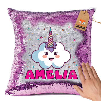 Hot Pink and Unicorn 116 - White Design Magic Reveal Cushion Cover PERSONALISED Sequin Christmas