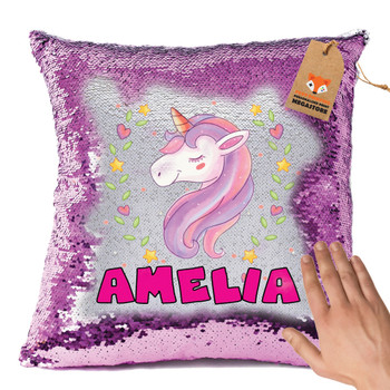 Hot Pink and Unicorn 118 - White Design Magic Reveal Cushion Cover PERSONALISED Sequin Christmas