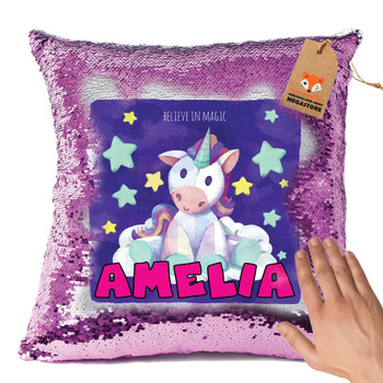 Hot Pink and Unicorn 119 - White Design Magic Reveal Cushion Cover PERSONALISED Sequin Christmas