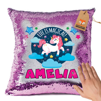 Hot Pink and Unicorn 120 - White Design Magic Reveal Cushion Cover PERSONALISED Sequin Christmas