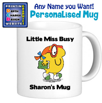 Miss Busy - Personalised Men or Miss Mugs - Perfect Goft Xmas Secret Santa - ANY NAME