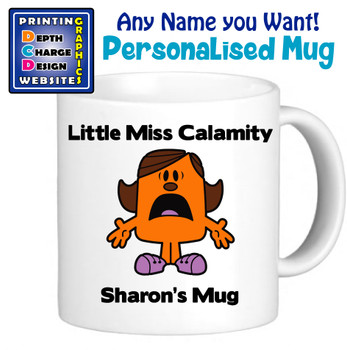 Miss Calamity Mug - Personalised Men or Miss Mugs - Perfect Goft Xmas Secret Santa - ANY NAME