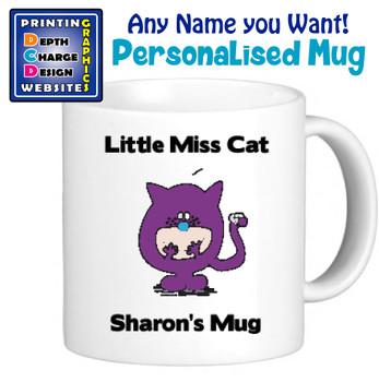 Miss Cat - Personalised Men or Miss Mugs - Perfect Goft Xmas Secret Santa - ANY NAME