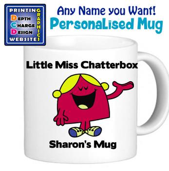 Miss Chaterbox 2 - Personalised Men or Miss Mugs - Perfect Goft Xmas Secret Santa - ANY NAME