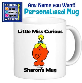Miss Curious - Personalised Men or Miss Mugs - Perfect Goft Xmas Secret Santa - ANY NAME