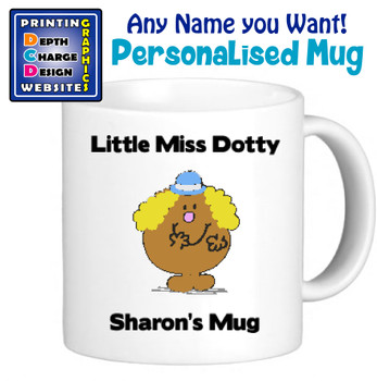 Miss Dotty - Personalised Men or Miss Mugs - Perfect Goft Xmas Secret Santa - ANY NAME