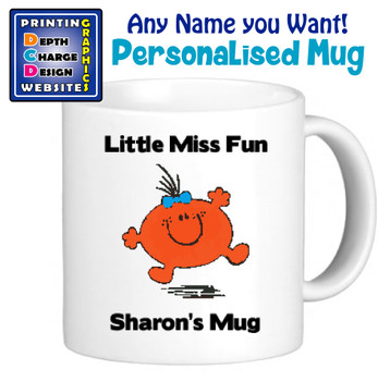 Miss Fun - Personalised Men or Miss Mugs - Perfect Goft Xmas Secret Santa - ANY NAME