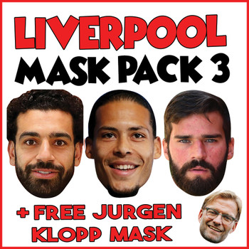 Liverpool Champions League Mask Pack 3 MOHAMED SALAH, VIRGIL VAN DIJK, ALLISON BECKER AND FREE JURGEN KLOPP, MANE