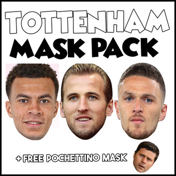 Tottenham Champions League Mask Pack 1 HARRY KANE, DELE ALI, KIERAN TRIPPIER, AND FREE POCHETINO