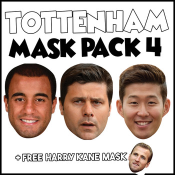 Tottenham Champions League Mask Pack 4 HARRY KANE, MOURA,  SON HEUNG-MIN, AND FREE POCHETINO