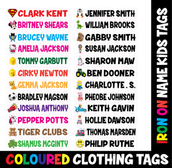 NEW!! Kids School Name Tags - Many Designs