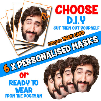 6 x PERSONALISED CUSTOM Stag Masks PHOTO DIY OR CUT PARTY FACE MASKS - Stag & Hen Party Facemasks