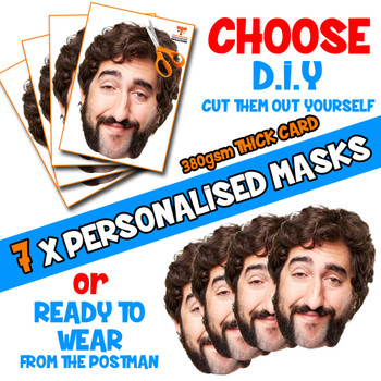 7 x PERSONALISED CUSTOM Stag Masks PHOTO DIY OR CUT PARTY FACE MASKS - Stag & Hen Party Facemasks