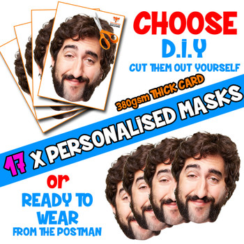 17 x PERSONALISED CUSTOM Stag Masks PHOTO DIY OR CUT PARTY FACE MASKS - Stag & Hen Party Facemasks